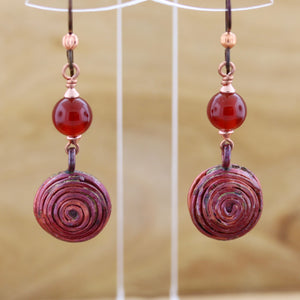 Copper Spiral Earrings with Carnelian Accents