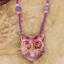 Cat Head Leather Slider Necklace