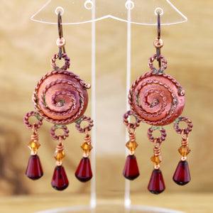 Copper Spiral Domed Earrings with Czech Bead Dangles