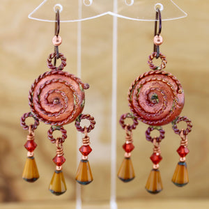 Spiral on Dome Earrings with Czech Glass Beads