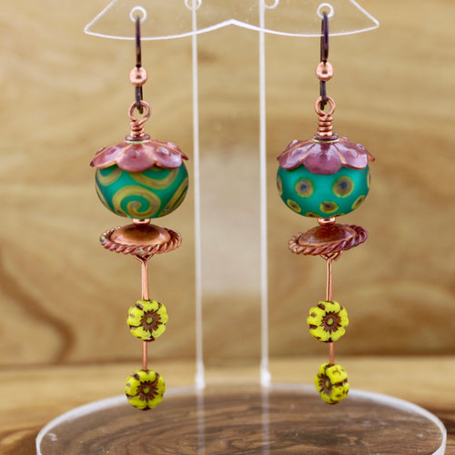 Copper Dangle Earrings with Lampwork Glass and Czech Glass Beads
