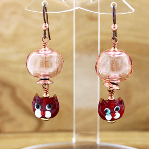 Pink Hollow Glass Bead with Red Cats Earrings