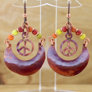 Boho Copper Crescent and Peace Earrings