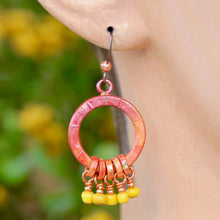 Copper Earrings with Five Dangles