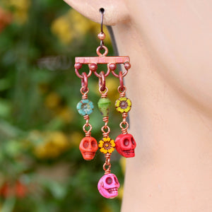 Copper Dangle Earrings with Colorful Skulls