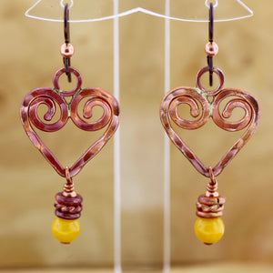 Copper Heart Earrings with Yellow Jade