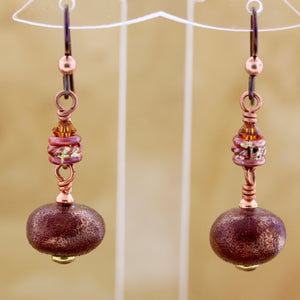 Raku Fired Porcelain and Copper Earrings