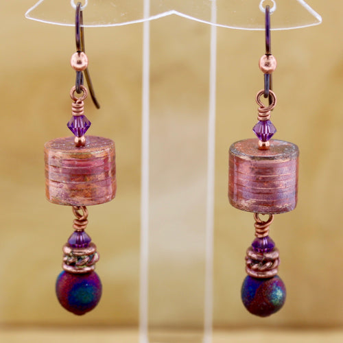 Copper Barrel Bead Earrings with Raku Fired Porcelain Bead Dangle