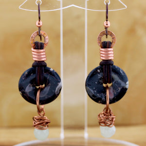 Black Jasper Donut Earrings with Crystal Teardrop Dangle