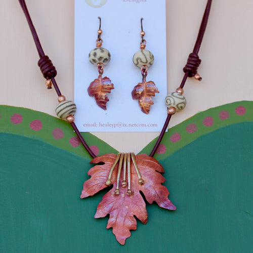 Copper Leaf with Tendrils Necklace with Lampwork Bead and Lear Earrings