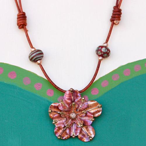 Copper Rose Necklace with Lampwork Beads
