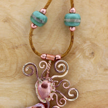 Golden Haired Mermaid Necklace with Lampwork Glass Beads with Spiral Earrings