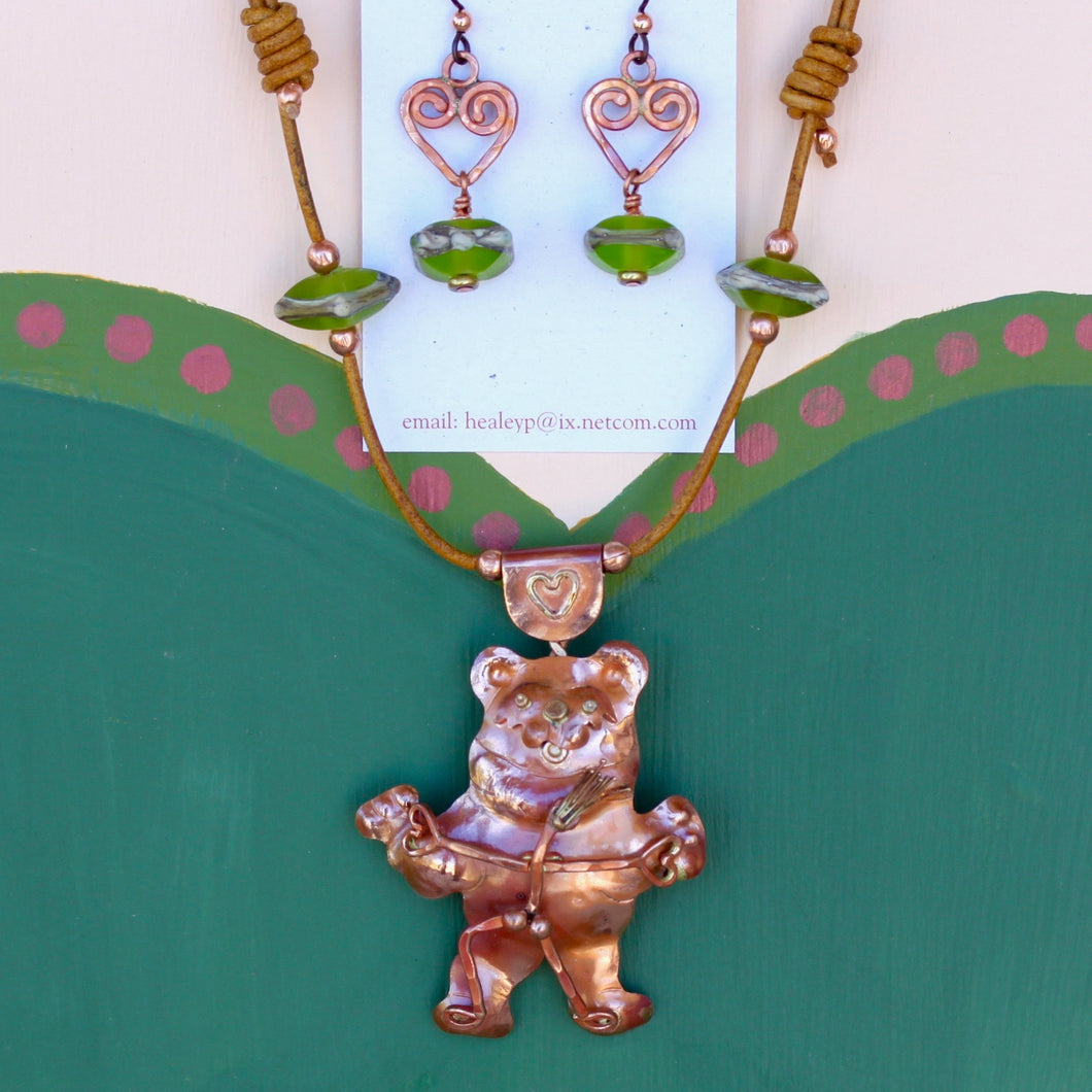Dancing Naked w/Big Bear Necklace with Lampwork Bead Earrings