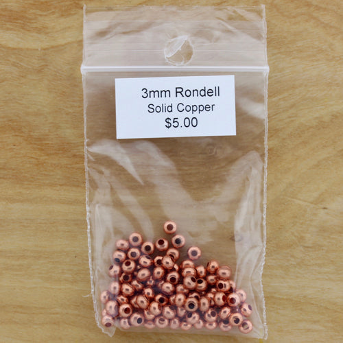 3mm Genuine Copper Rondelle Hollow Bead