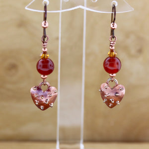 Bumpy Heart and Carnelian Earrings
