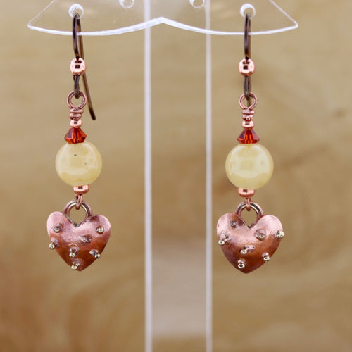 Bumpy Heart and Yellow Jade Earrings