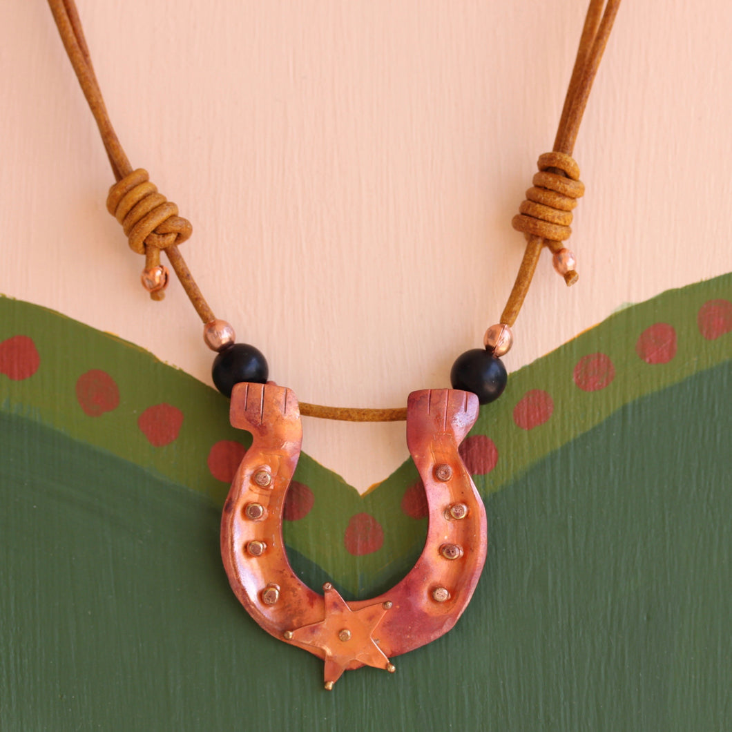 Copper Horseshoe Necklace with Onyx Beads