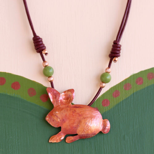 All Copper Cottontail Rabbit Necklace