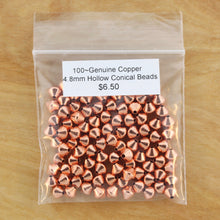 100~Genuine Copper 4.8mm Hollow Conical Beads