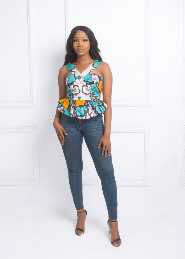 AFRICAN PRINT CLAIRE  PEPLUM TOP