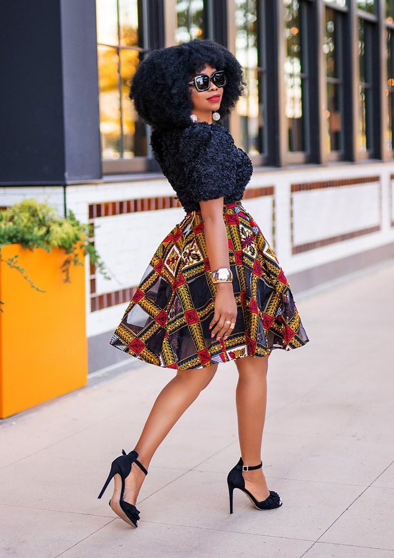 AFRICAN PRINT XENO CUT OUT CIRCLE  SKIRT
