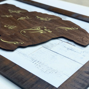 Tehran Map with Persian calligraphy on walnut wood - framed