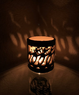 "Handmade Ceramic ""Love Love"" candle holder, Persian Arabic Calligraphy Great Valentine's day gift! جا شمعی ""عشق عشق"" الشمعة"
