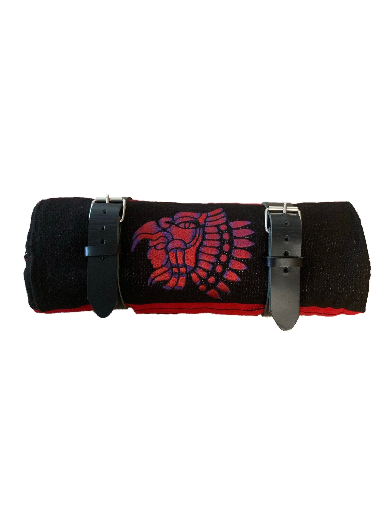 Red And Black Serape Bed Roll Embroidered With Leather Straps For Harl Border Town Industries