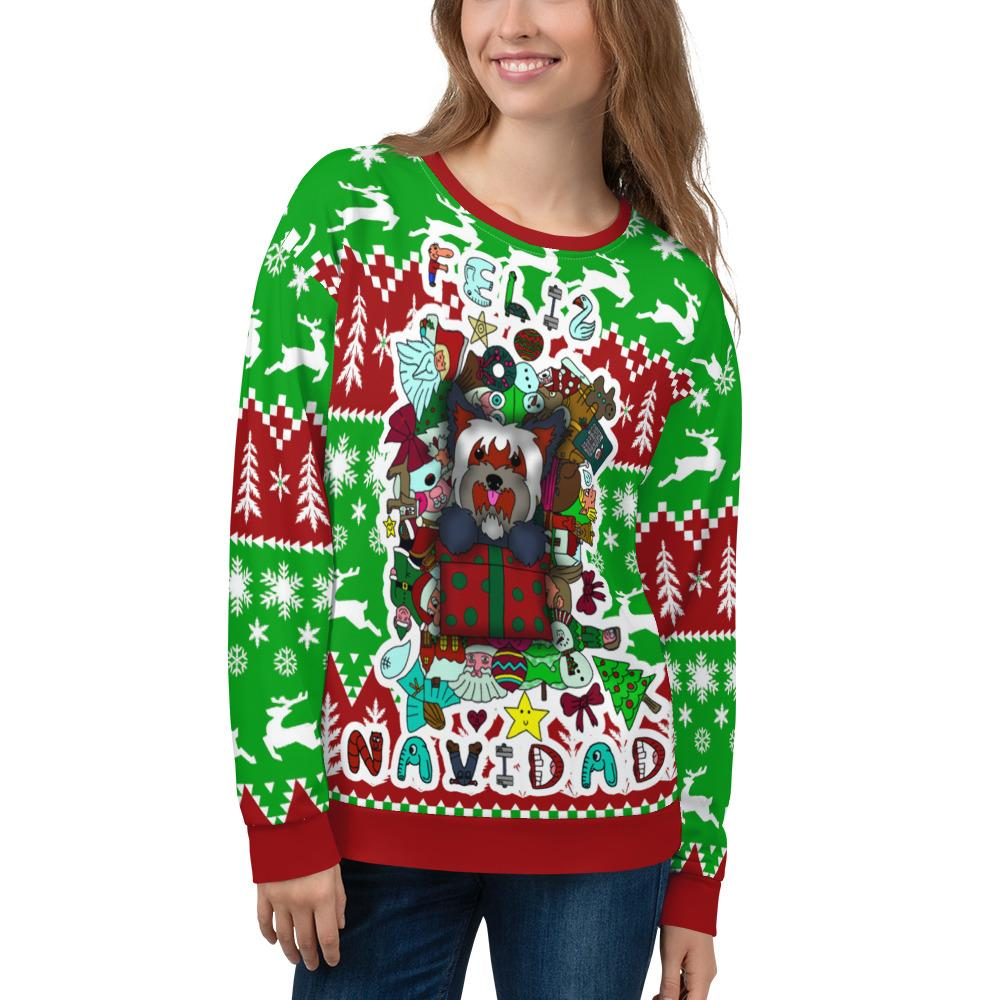Christmas Unisex Ugly Sweater Yorkie present
