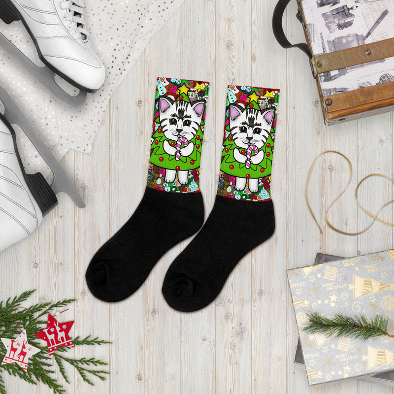 Cute Cat Christmas Socks