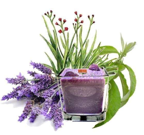 Luxury Scented Aromatherapy Candle fragranced with pure essential oils, natural palm wax with Amethyst Healing crystals. Ideal for Chakra healing, mindfulness, spirituality, positive energy, for a balanced grounded life. Hand poured in small batches in Winnipeg Canada