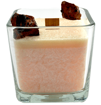 Luxury Scented Aromatherapy Candle fragranced with pure essential oils, natural palm wax with Mahogany Obsidian Healing crystals. Ideal for Chakra healing, mindfulness, spirituality, positive energy, for a balanced grounded life. Hand poured in small batches in Winnipeg Canada