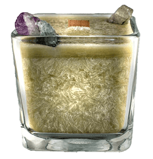 Luxury Scented Aromatherapy Candle fragranced with pure essential oils, natural palm wax with Fluorite Healing crystals. Ideal for Chakra healing, mindfulness, spirituality, positive energy, for a balanced grounded life. Hand poured in small batches in Winnipeg Canada