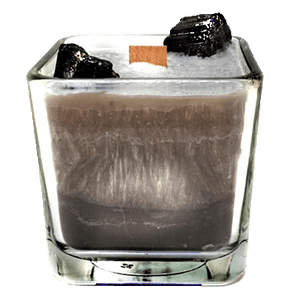 Luxury Scented Aromatherapy Candle fragranced with pure essential oils, natural palm wax with Black Tourmaline Healing crystals. Ideal for Chakra healing, mindfulness, spirituality, positive energy, for a balanced grounded life. Hand poured in small batches in Winnipeg Canada