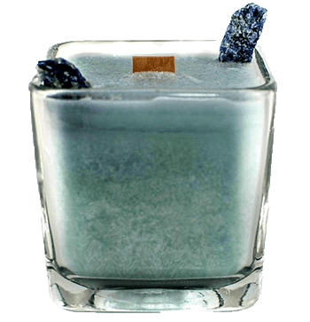 Luxury Scented Aromatherapy Candle fragranced with pure essential oils, natural palm wax with Sodalite Healing crystals. Ideal for Chakra healing, mindfulness, spirituality, positive energy, for a balanced grounded life. Hand poured in small batches in Winnipeg Canada