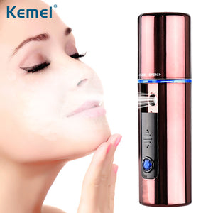 Kemei Ultrasonic Nano Facial Steamer Handy Strong Spray Strength Facial Steamer 1 Hour Quick Charge Facial Steamer Plug and Play
