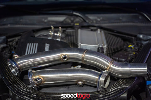 "Speed Logic BMW S55 Engine 3"" Stainless Steel Catless Race Downpipes (2014-2019 BMW M3, M4 & M2 Competition F80 F82 F87 F8x))"