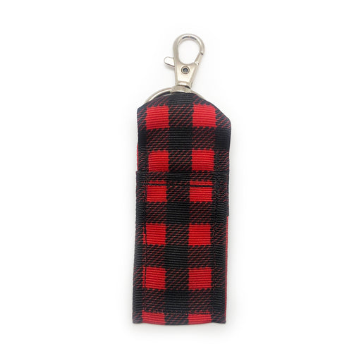 Red Buffalo Plaid Lip Balm Key Chain