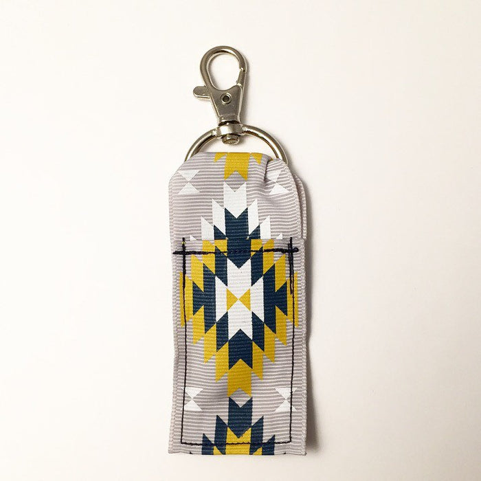 Navajo Navy and Gold Lip Balm Keychain - delight-naturals