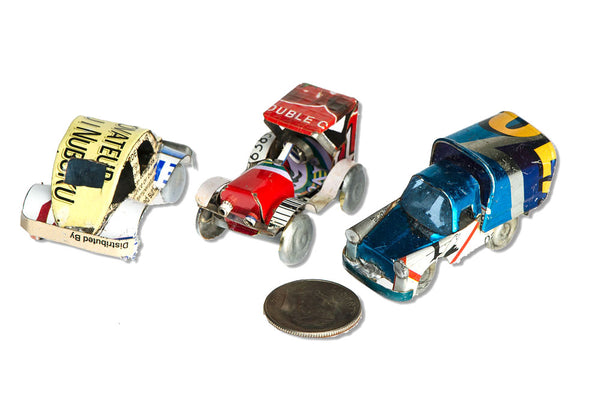 Recycled Tin Cars and Trucks - Set of Three