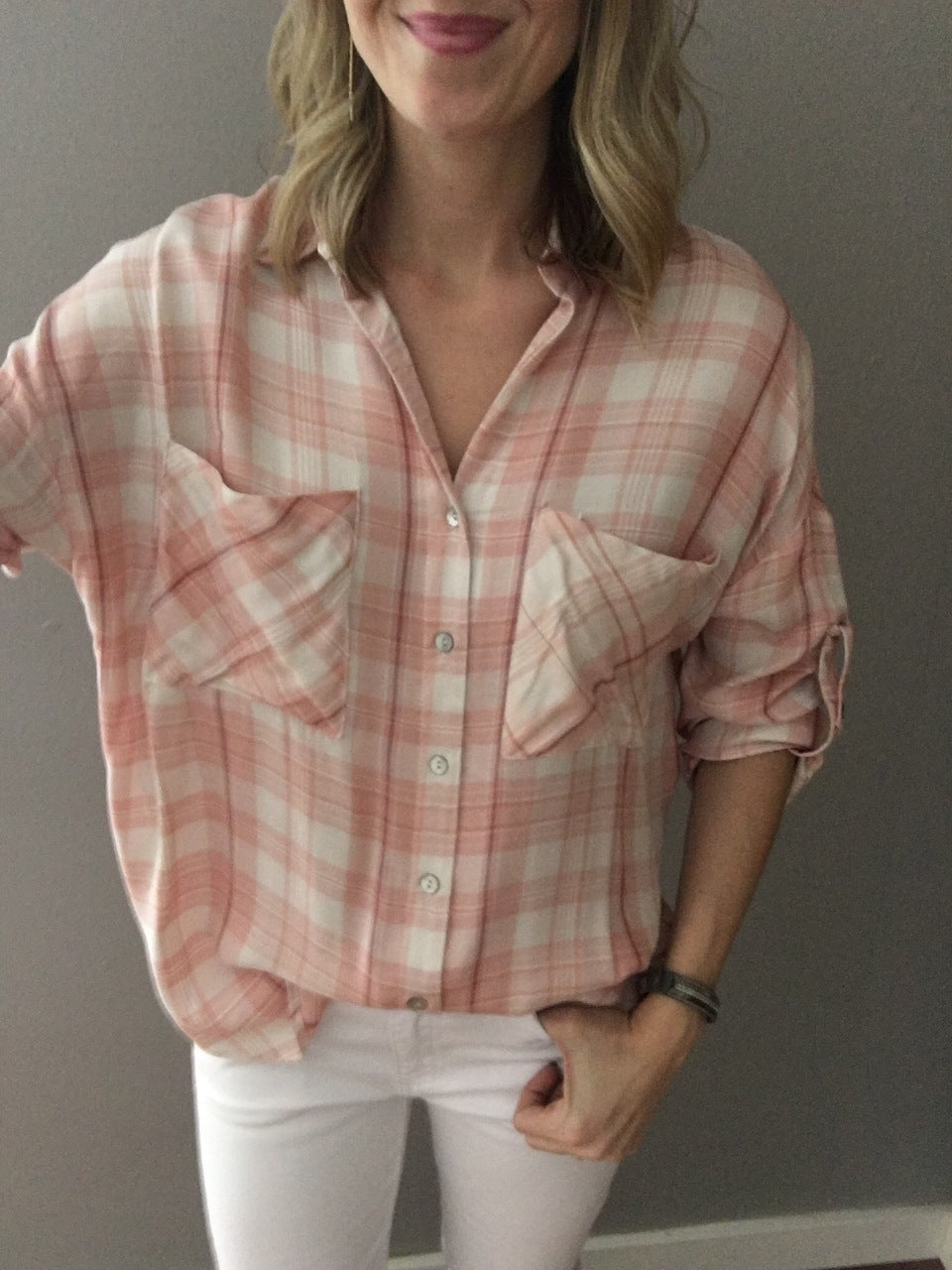 Pretty Pink Plaid Button Up
