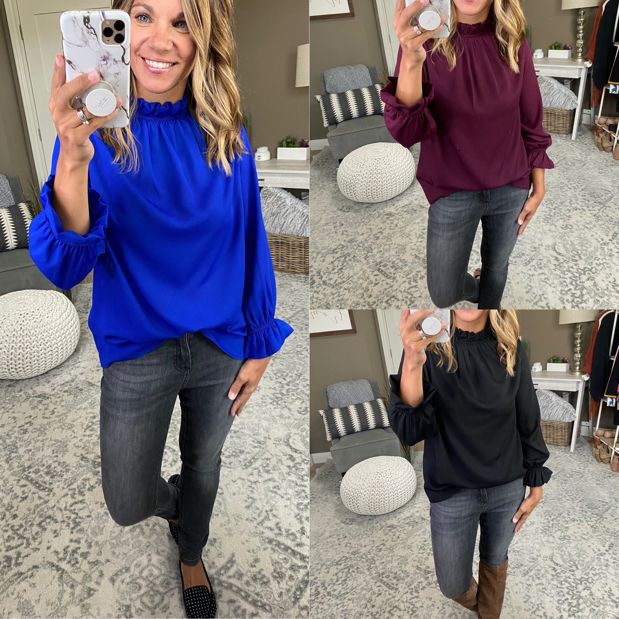 First Love Back Ruched Mock Neck Long Sleeve Blouse