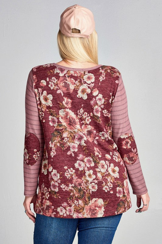 Gossip Girl Floral Back Long Sleeve- Plus