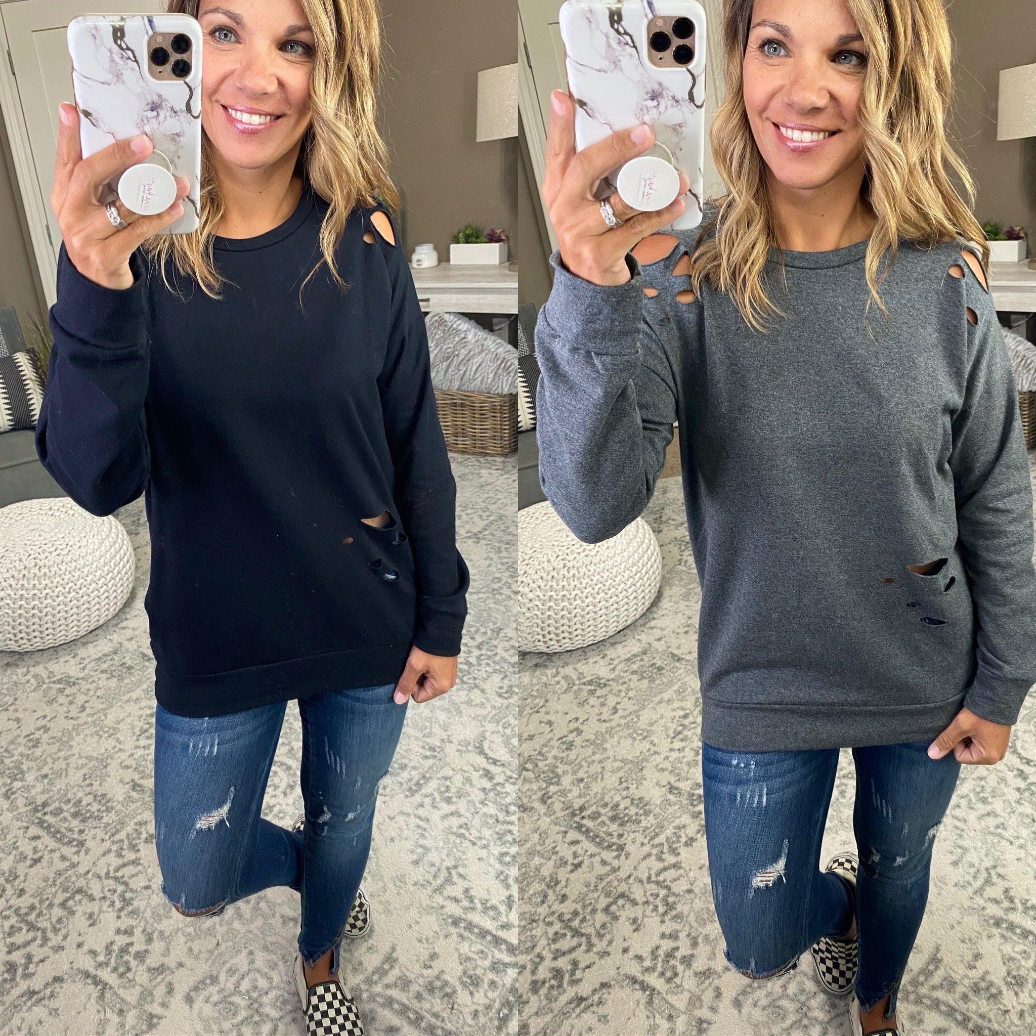 Treat You Like A Rockstar Laser Cut Distressed Crew Neck Sweatshirt - Multiple Options