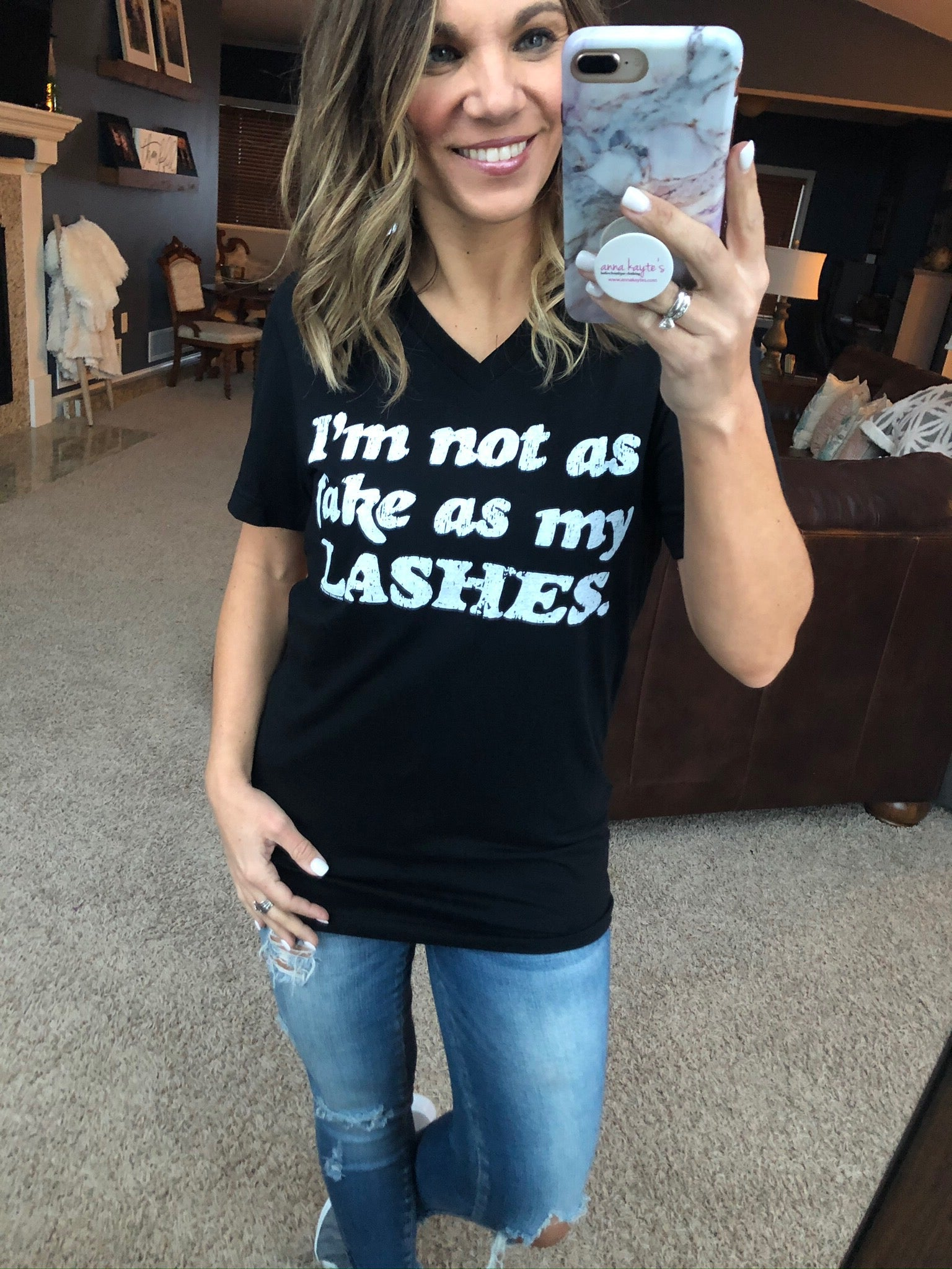 I'm Not As Fake As My Lashes Short Sleeve T-Shirt