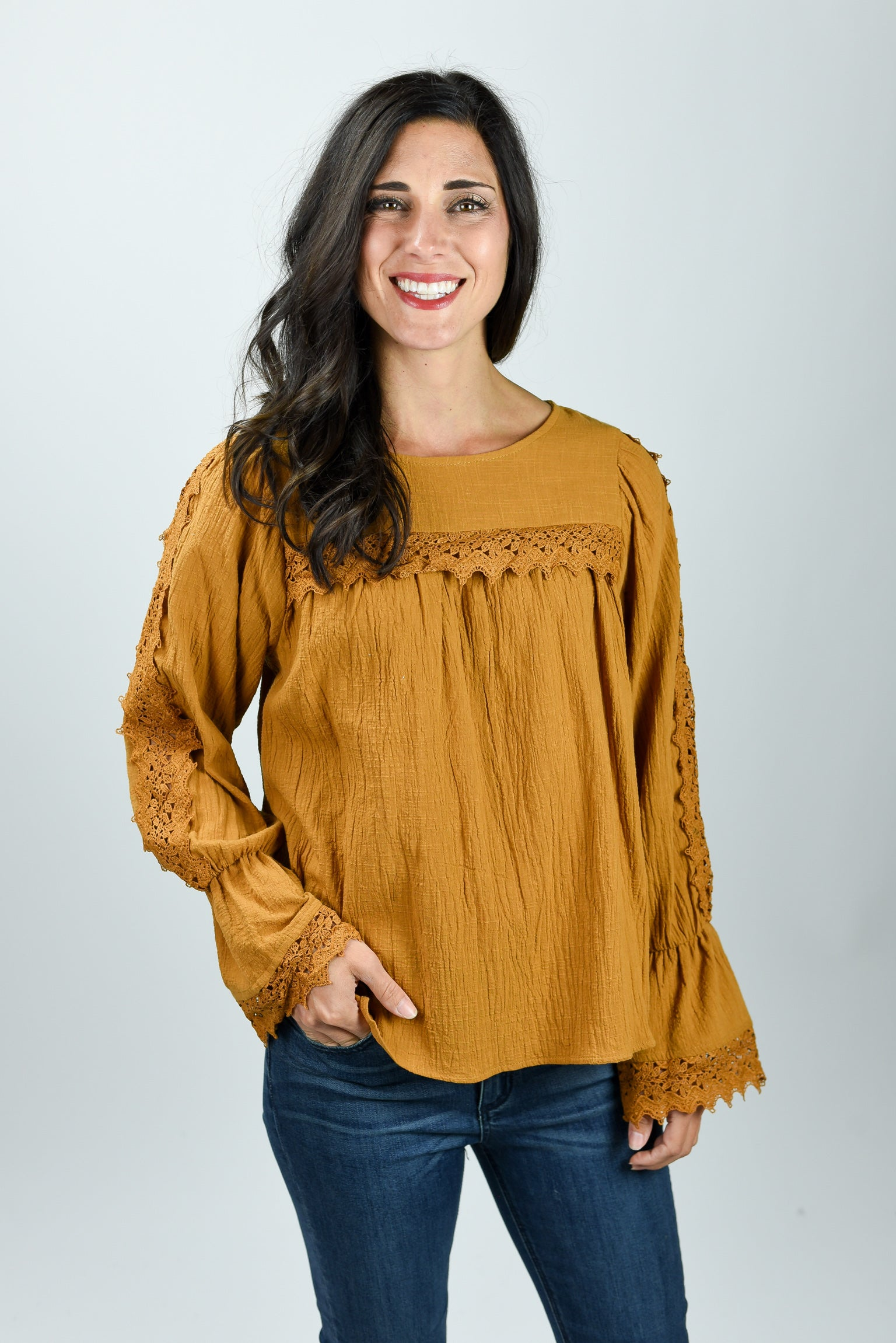 Meant To Be Crochet Insert Mustard Long Sleeve Top