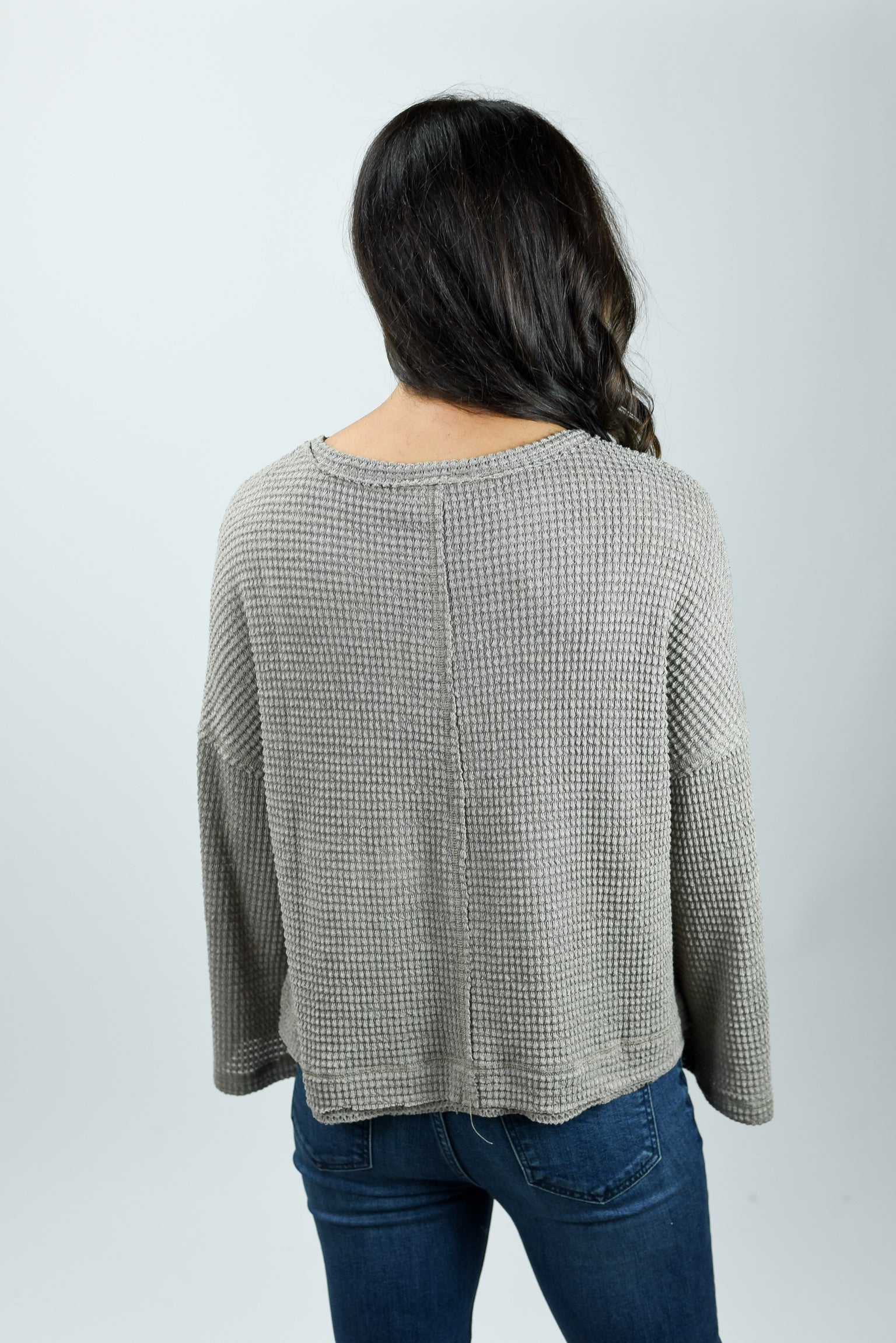 Chosen One Grey Waffle Open Sleeve Top