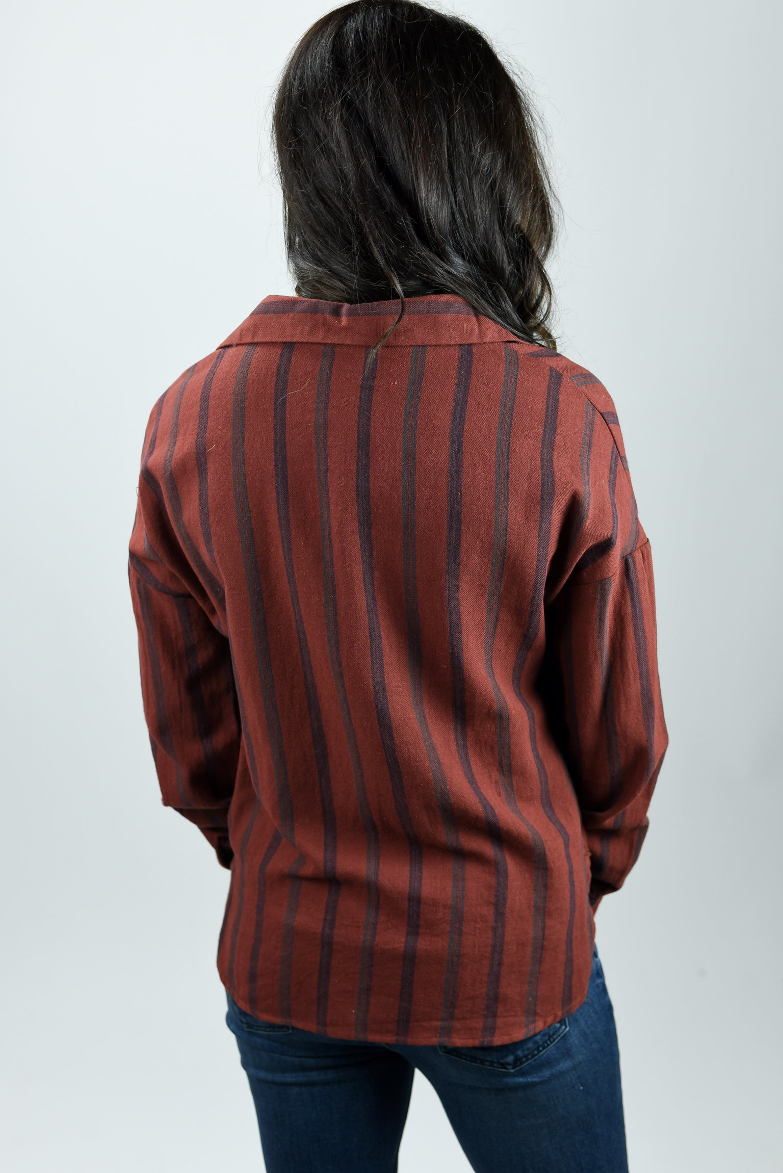 In A Heartbeat Brick Stripe Long Sleeve Top