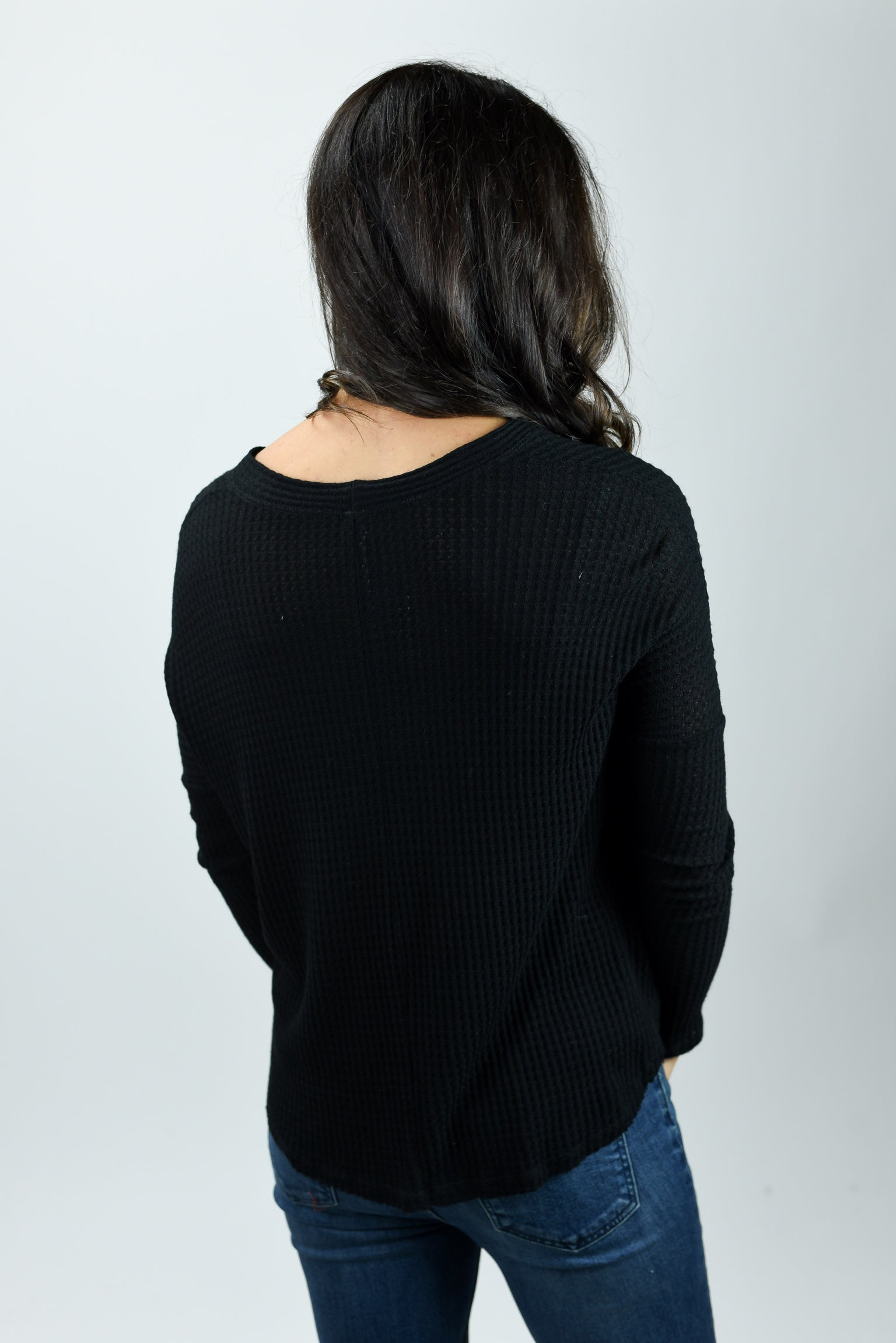 In My Place Waffle Button Down Top - Black