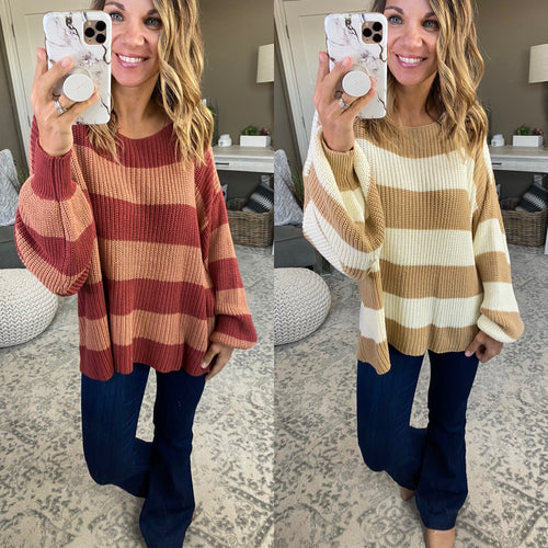 Count Your Blessings Striped Boatneck Sweater- Multiple Options